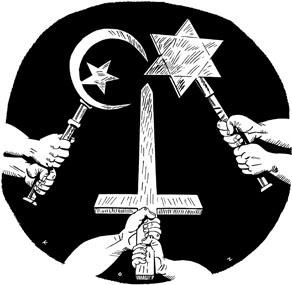 "Mideast Holy War by Martin Kozlowski/inxart.com 4/3/02 600dpi bitmap tif 7""x6.83"""